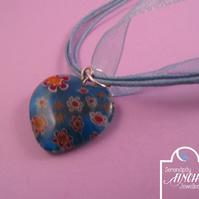 Glass Blue Heart Ribbon Short Necklace