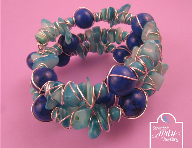 Blue Magnesite Shell Wire Wrapped Memory Wire Bracelet