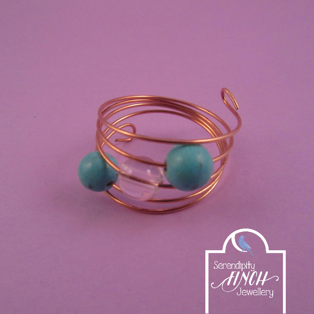 Turquoise Howlite, Clear Quartz Rose Gold Memory Wire Ring, Turquoise Ring