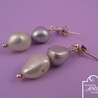 Green Silver Pearl Earrings with Silver