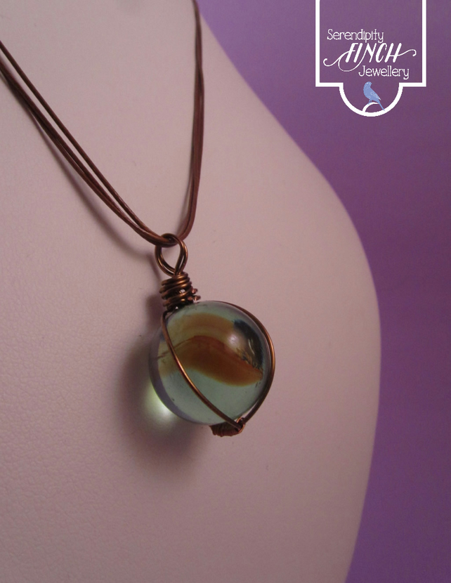 Marble Wire Wrapped Pendant Necklace, Brown Marble Pendant, Marble Necklace,