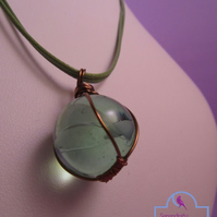 Green Marble Wire Wrapped Pendant Necklace, Green Marble Pendant