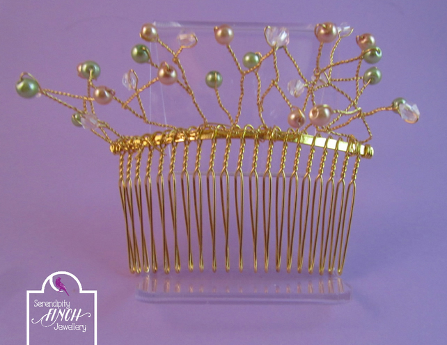 Green Gold Vine Hair Comb