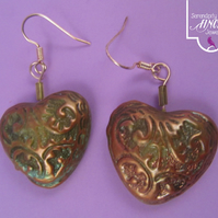Green Gold Heart Earrings with Jewel Enamel