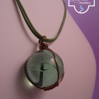 Light Green Marble Wire Wrapped Pendant Necklace, Marble Necklace