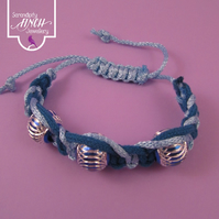Blue Macrame Bracelet with 3 Aluminium Beads