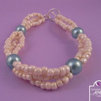 Light Blue Cream Pearl Bracelet