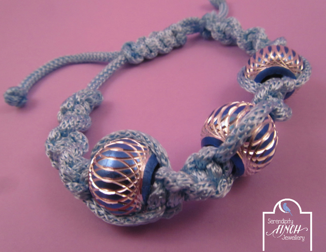 Light Blue Macrame Bracelet with 3 Aluminium Beads