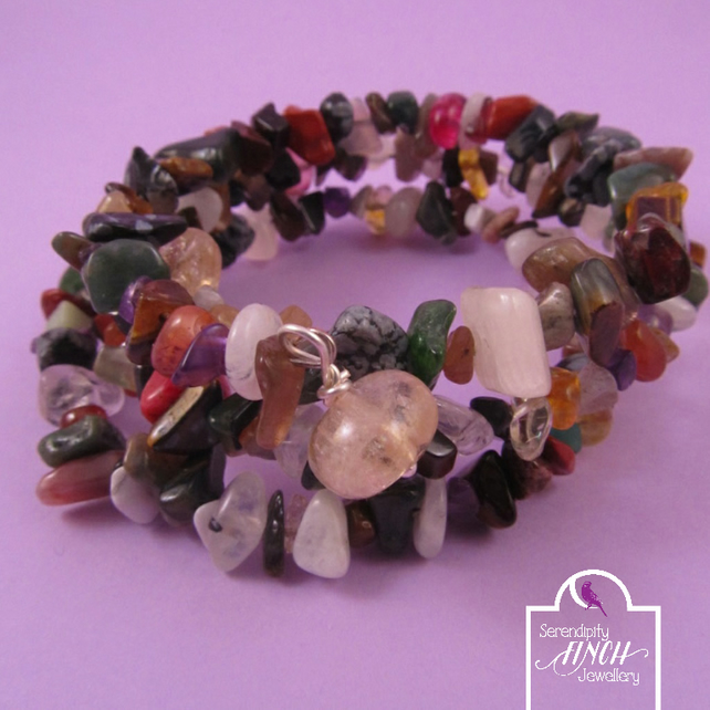 Multi Colour Gemstone Memory Wire Bracelet