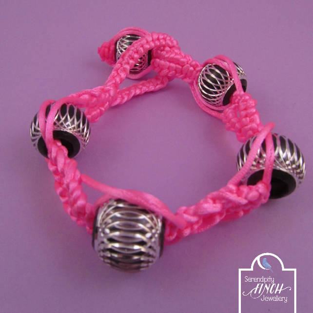 Neon Pink Macrame Bracelet with Black Aluminium Beads