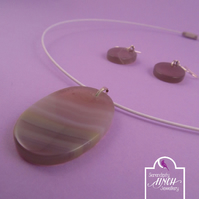 Oval White Striped Agate Necklace and Earrings Set