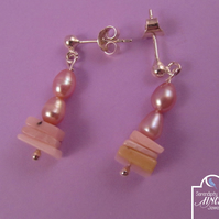 Pink Opal Pearl Drop 925 Silver Earrings