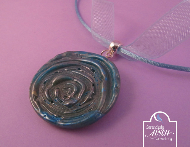 Blue Rose Pendant Ribbon Necklace with Jewel Enamel