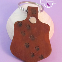 Dog Paw Print Brown Leather Keyring, Hand Stamped Leather Keyring, Dog Keyring