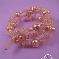 Peach Pearl, Rose Quartz Wire Wrapped Memory Wire Bracelet