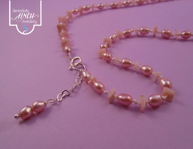Pink Opal Pearl Knotted Necklace with Silver