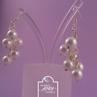 White Pearl Charm Dangle Earrings