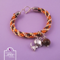Brown Cat Charm Kumihimo Bracelet, Brown Kumihimo Bracelet, Cat Charm Bracelet