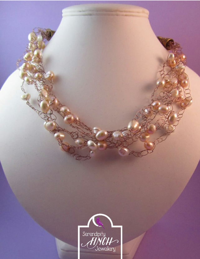 Pearl Crochet Necklace, Potato Pearl Necklace, Peach Necklace
