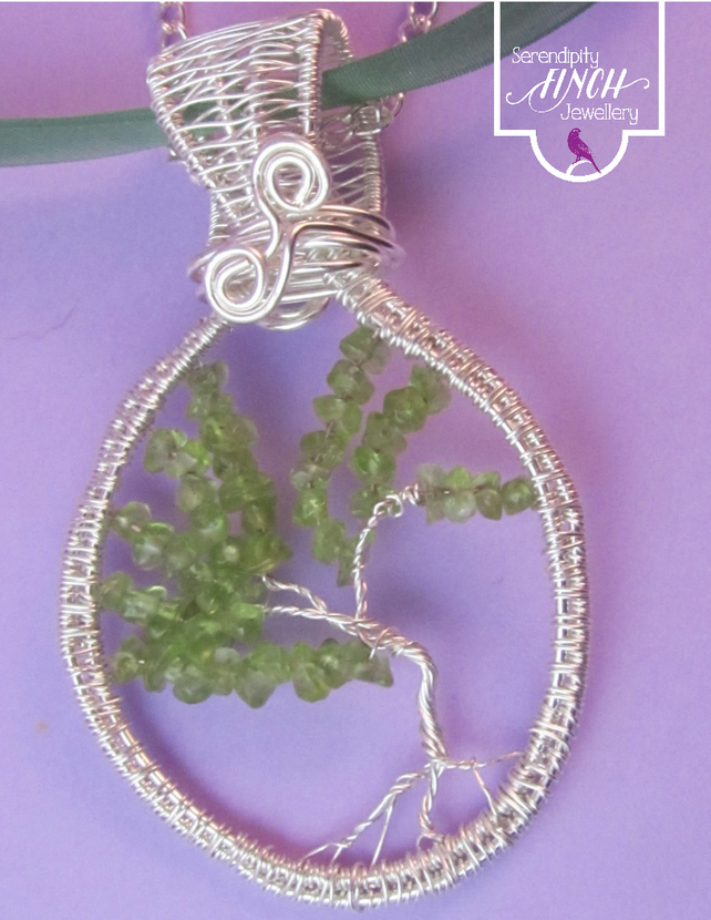 Green Peridot Tree of Life Pendant Necklace, Peridot Wirework Pendant