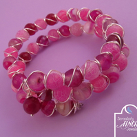 Pink Agate Wire Wrapped Memory Wire Bracelet