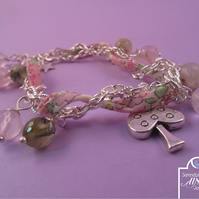 Pink Green Ribbon Charm Bracelet, Rose Quartz Charm Bracelet, Liberty Ribbon