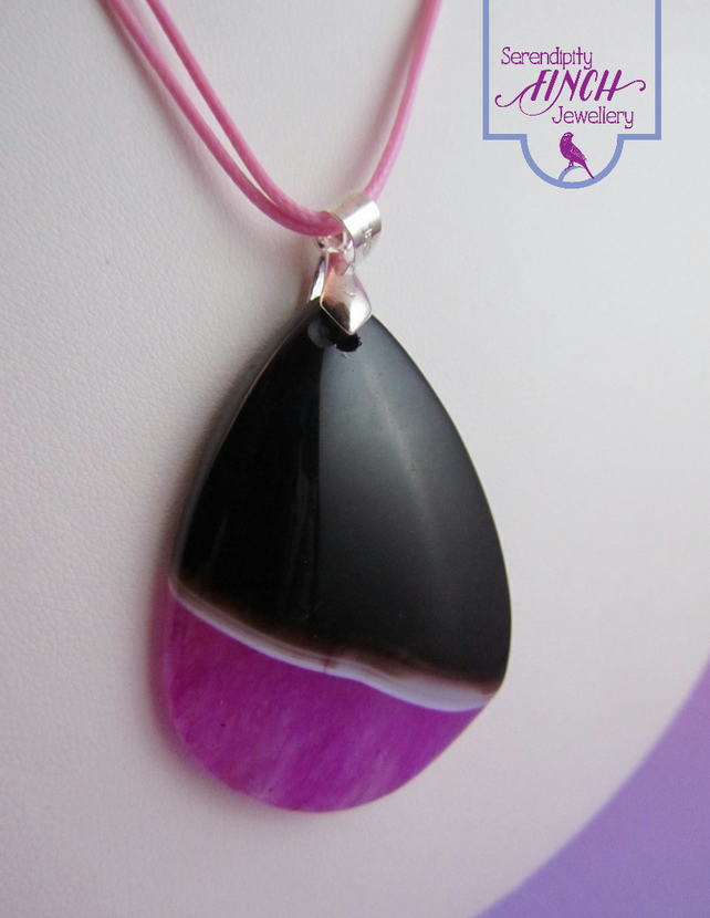 Pink Black Agate Pendant Necklace, Pink Necklace, Black Necklace