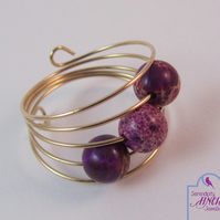 Purple Jasper Ring, Rose Gold Memory Wire Ring, Purple Ring