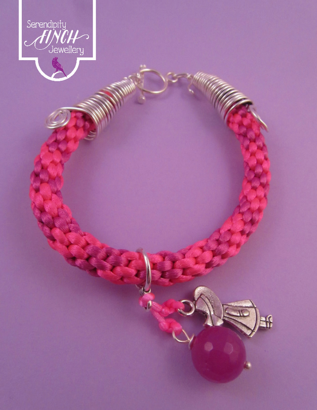 Pink Kumihimo Charm Bracelet, Pink Braided Bracelet, Pink Charm Bracelet