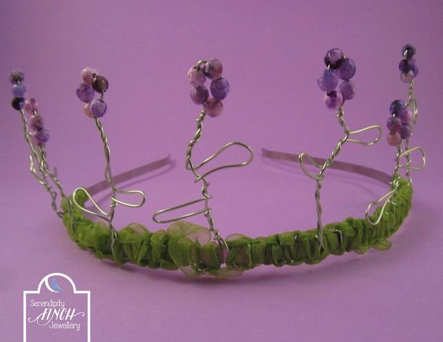Purple Agate Flower Green Ribbon Tiara