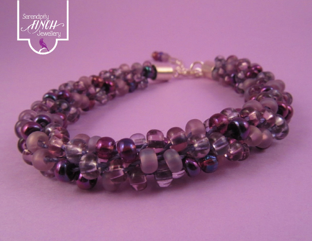 Purple Beaded Kumihimo Bracelet, Purple Bracelet, Purple Beaded Bracelet