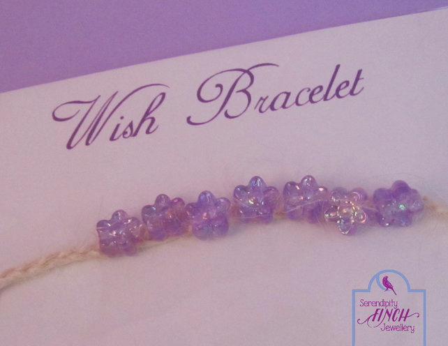 Flower Wish Bracelet, Purple White Wish Bracelet, Jute Bracelet