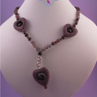Purple Heart Necklace, Lava Rock and Aventurine Short Necklace