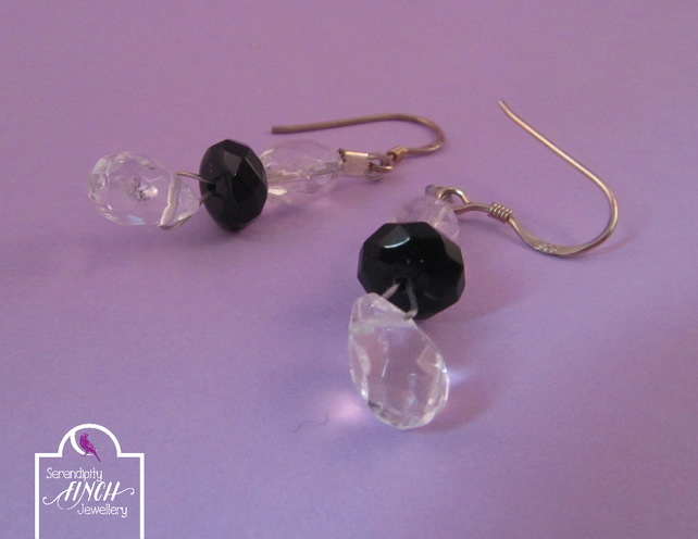 Clear Quartz Black Agate Earrings with Silver