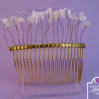 White Quartz Chip Hair Comb