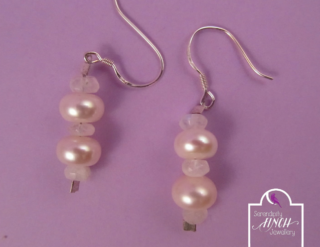 White Pearl Rainbow Moonstone Earrings with Silver