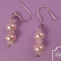 White Pearl Rainbow Moonstone Earrings with 925 Silver