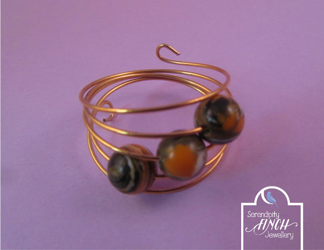 Orange Black Agate Gold Memory Wire Ring, Orange Black Ring, Agate Ring