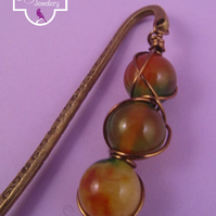 Yellow Orange Agate Wire Wrapped Bookmark
