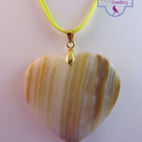 Yellow Agate Heart Pendant Necklace, Yellow Necklace, Heart Necklace
