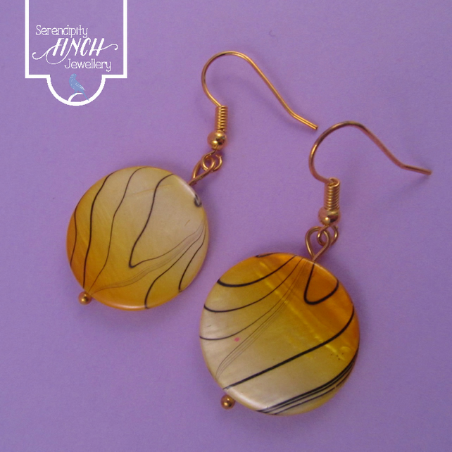 Yellow Striped Shell Gold Earrings