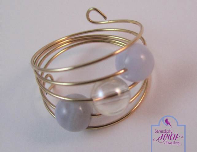 Blue Agate, Mystic Quartz Rose Gold Memory Wire Ring, Blue Ring