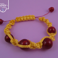 Red Yellow Macrame Bracelet