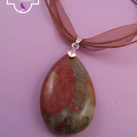 Red Brown Jasper Pendant Necklace, Red Brown Jasper Pendant