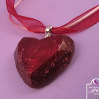 Red Heart Pendant Necklace with Jewel Enamel