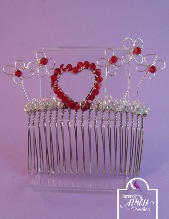 Red Heart Hair Comb with Flowers