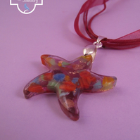 Lilac Glass Star Pendant with Red Necklace, Star Necklace, Red Ribbon Necklace