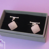 Rose Quartz Pink Cufflinks, Gemstone Cufflinks, Rose Quartz Cufflinks