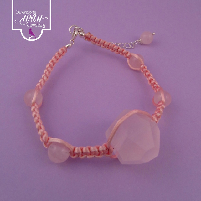 Pink Rose Quartz Macrame Bracelet with Satin Cord