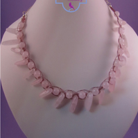Pink Rose Quartz Macrame Necklace